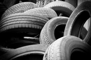 a pile of car tires